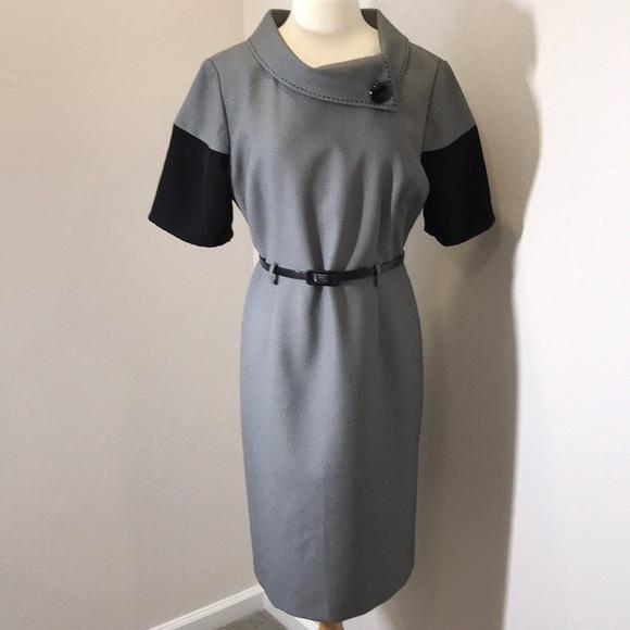 eee857f9fe2e Tahari Belted Short Sleeve Black/White Dress. M_5b91bc53e9ec8992cf474e6b